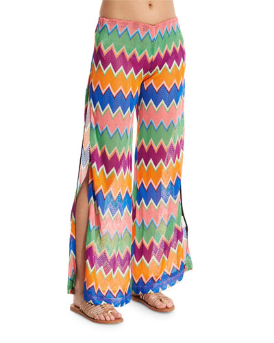 Zigzag Wide-Leg Coverup Pants, Multi Colors