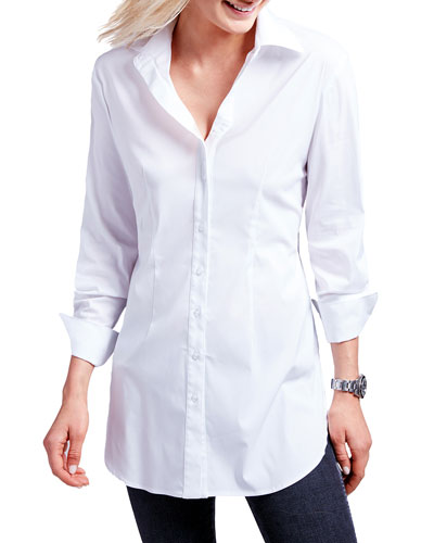 Kaylynn Button-Front Tunic, White