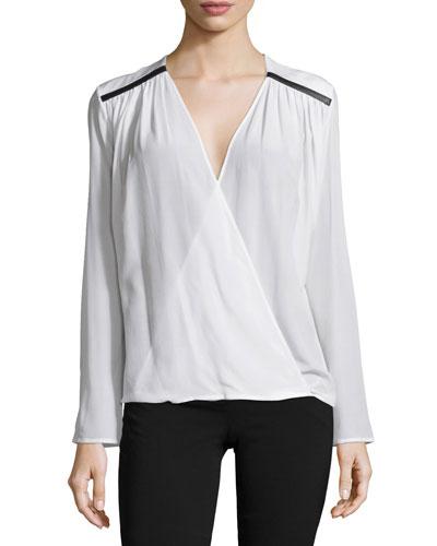 Long-Sleeve Faux-Wrap Blouse, White