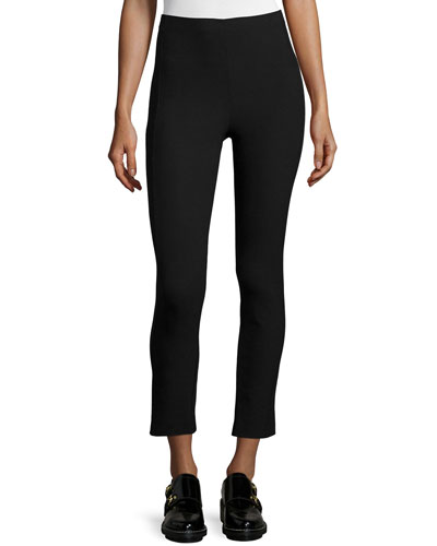 Simone Cropped Stretch Pants, Black