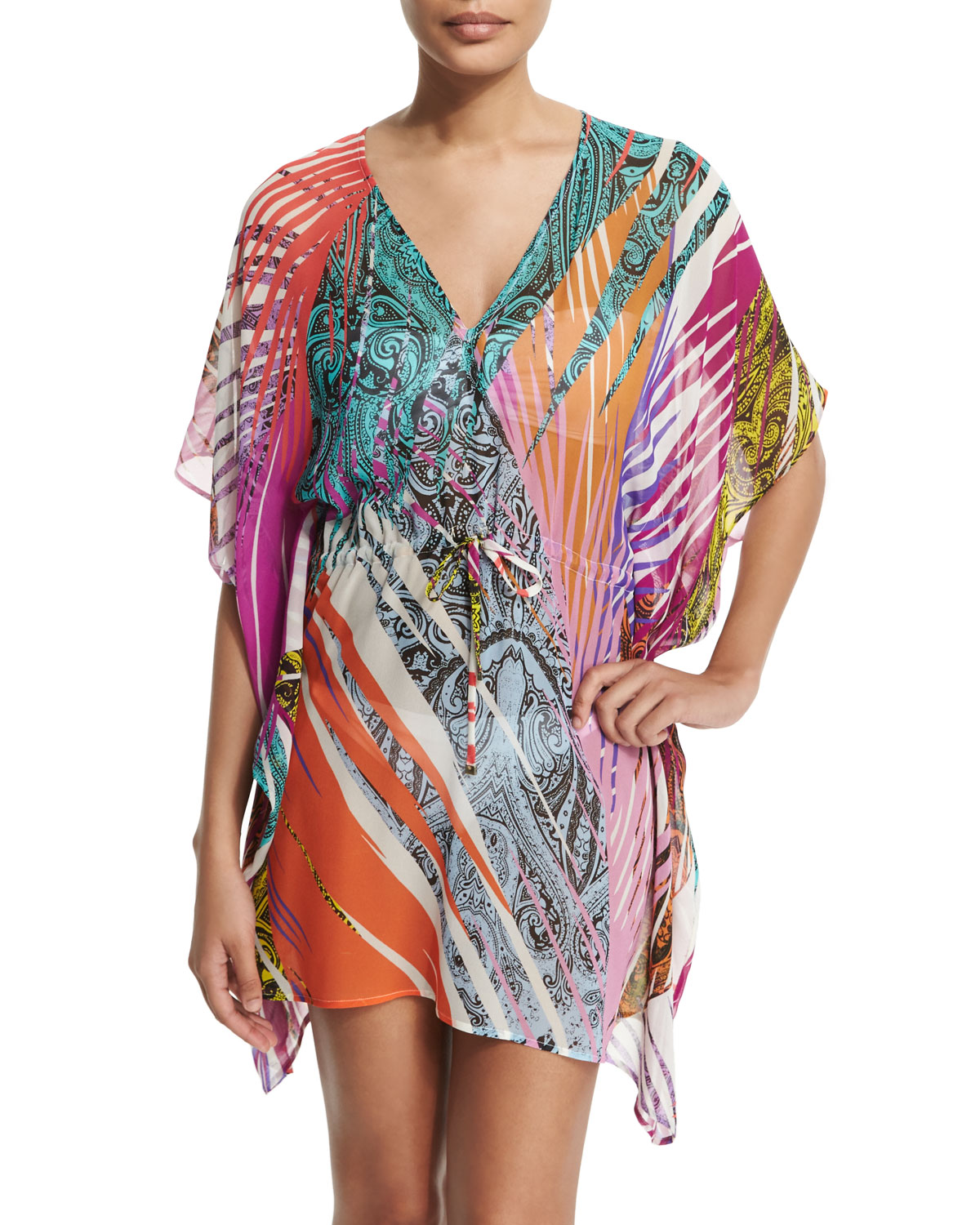 Multi Jungle-Print Poncho Coverup