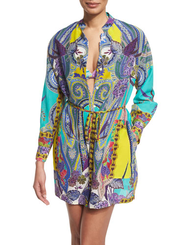Butterfly Paisley-Print Button-Down Coverup Top