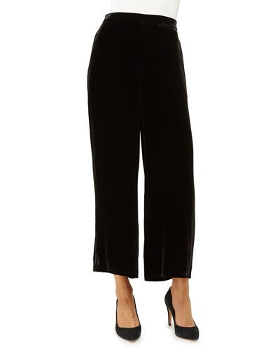 Velvet Wide-Leg Pants, Black