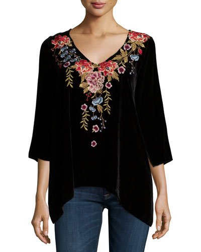 Amber 3/4-Sleeve Embroidered Velvet Tunic, Plus Size