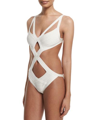 Cutout Bandage One-Piece Monokini Swimsuit, Alabaster