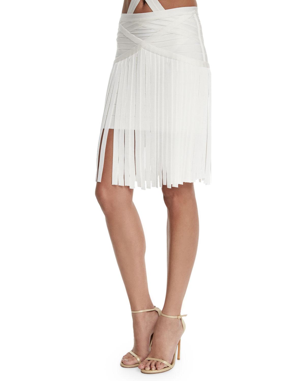 Fringe Coverup Bandage Skirt, Alabaster