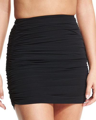 Norma Kamali Shirred Swim Mini Skirt Black | Clothing