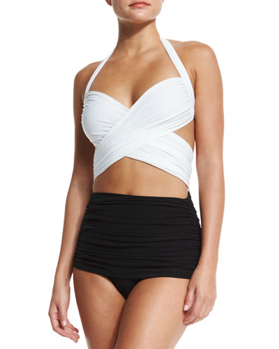 XO Bill Mio Combo One-Piece Swimsuit, White/Black