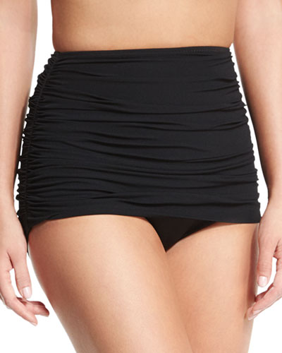 Bill High-Waist Shirred Swim Bottom, Black
