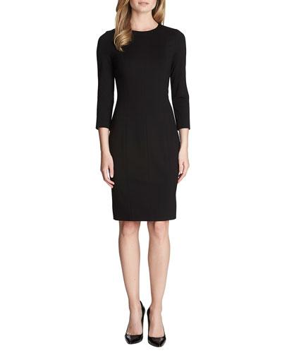 Zoe 3/4-Sleeve Ponte Sheath Dress