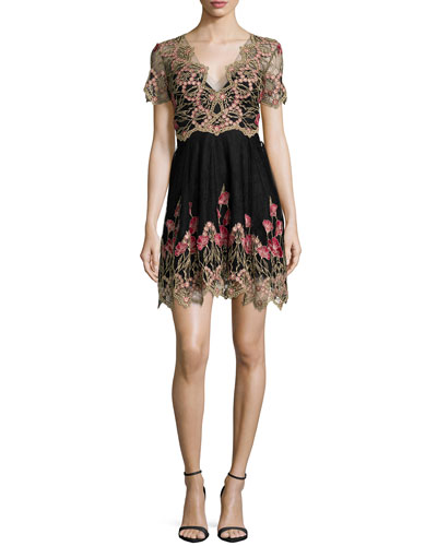 Short-Sleeve Embroidered Tulle Cocktail Dress
