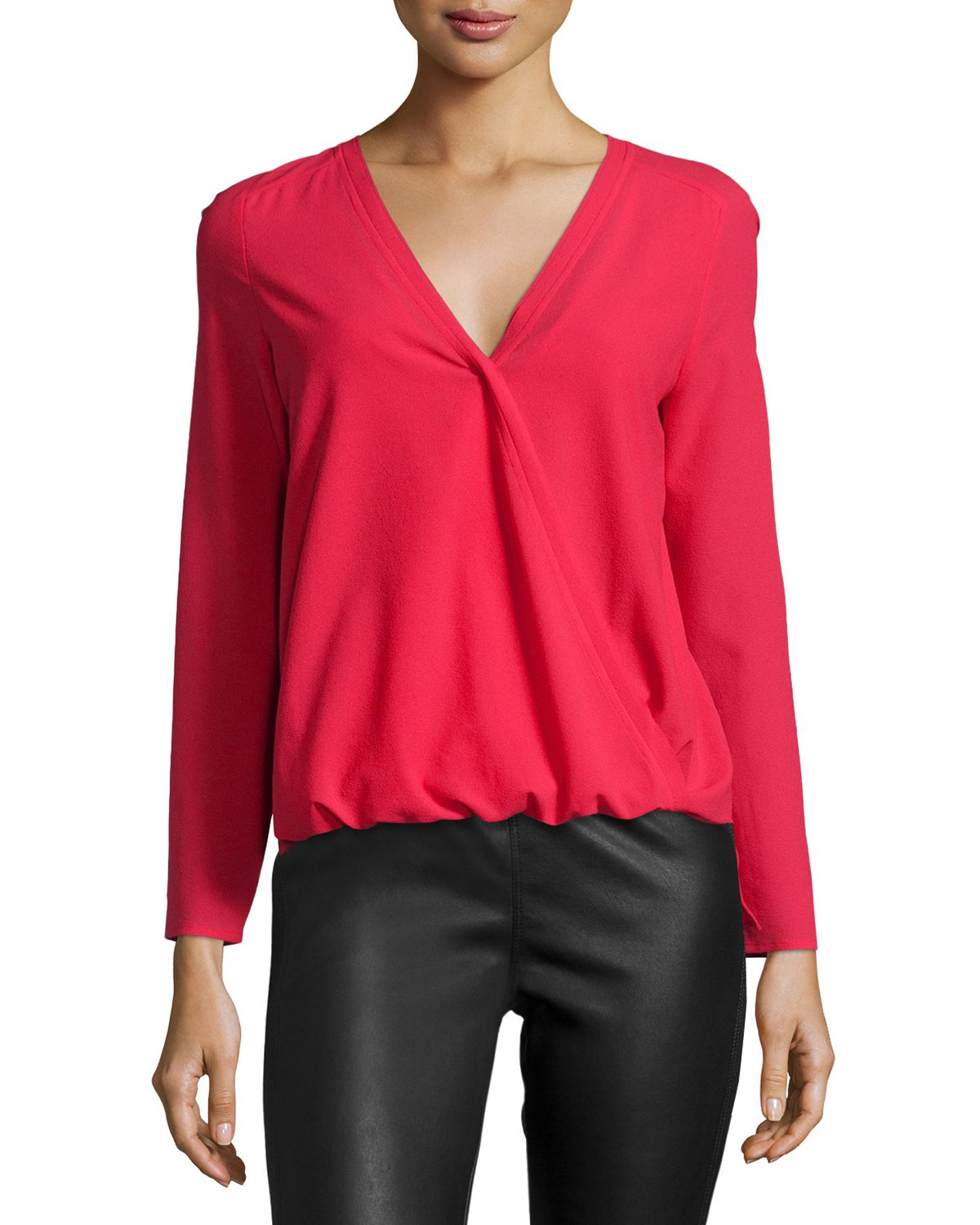 Alyssa Faux-Wrap Blouse, Deep Red