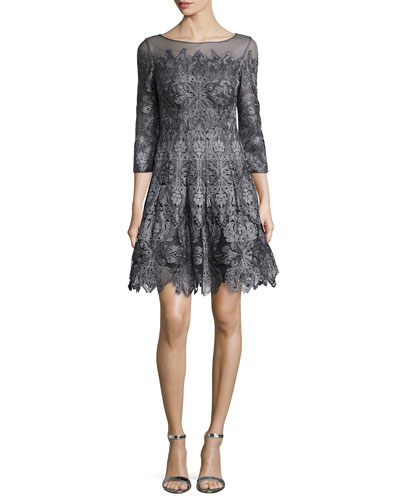 3/4-Sleeve Lace A-line Cocktail Dress