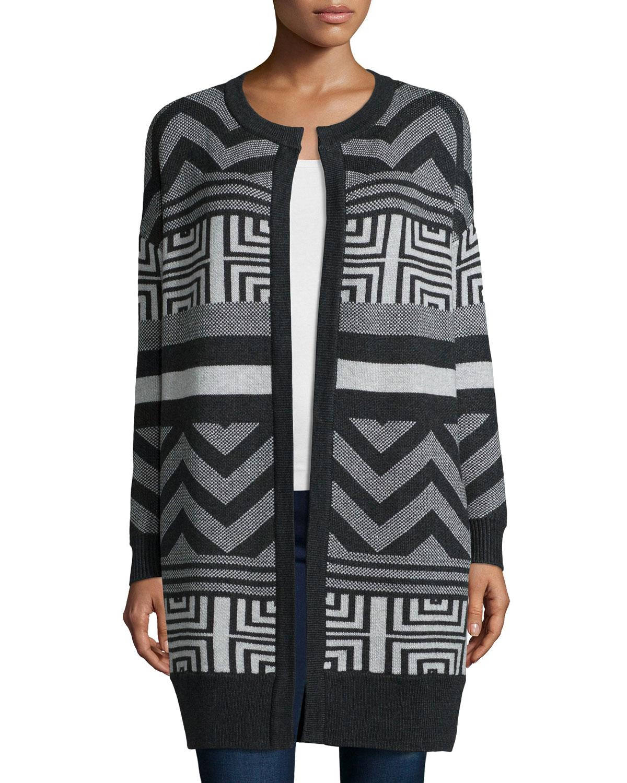 Long-Sleeve Tribal-Print Sweater, Charcoal Combo