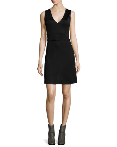 Astrid Open-Back A-Line Dress, Black