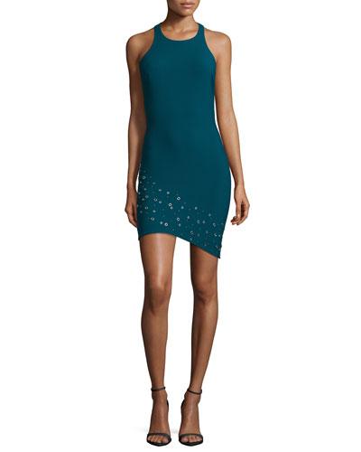 Gali Grommet-Embellished Dress, Prussian Blue