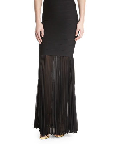Sheer Pleated Georgette Skirt Extension, Black