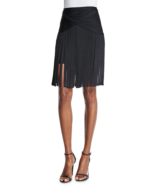 Bandage-Waist Skirt W/Fringe, Black