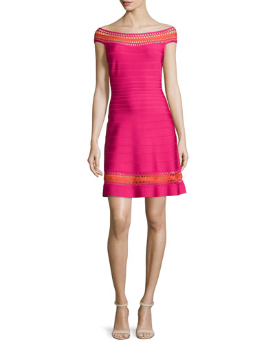 Off-The-Shoulder Crochet-Inset Dress, Bright Pink Combo