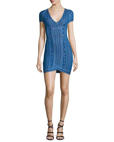 Cap-Sleeve V-Neck Jacquard Dress, Lapis Blue
