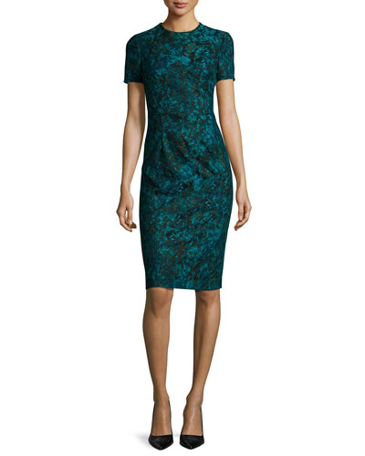 Short-Sleeve Printed Lace Sheath Dress