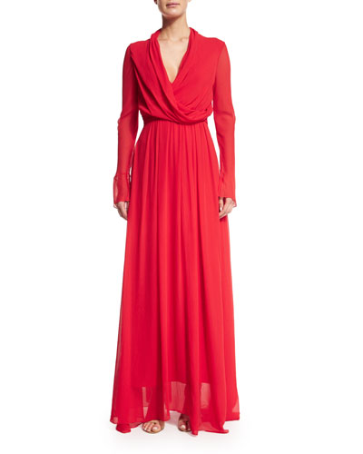 Long-Sleeve Blouson Crinkled Gown