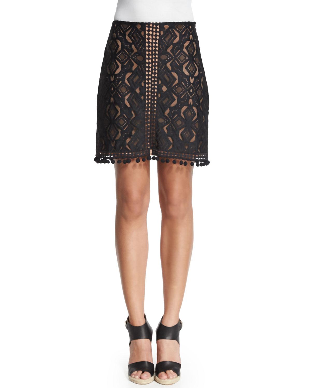 Florence Fringe-Trim Lace Skirt, Black