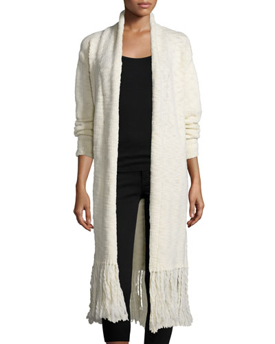 Sparrow Long Cardigan W/Fringe Trim, French Vanilla