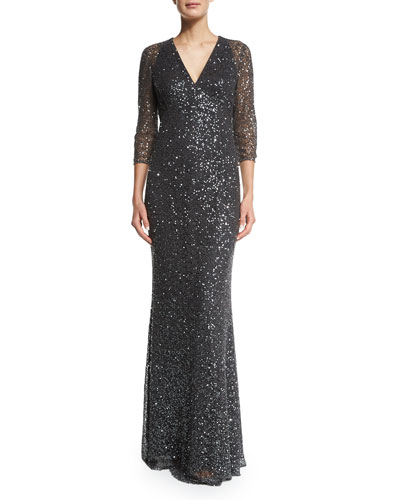 3/4-Sleeve Sequined Lace Gown
