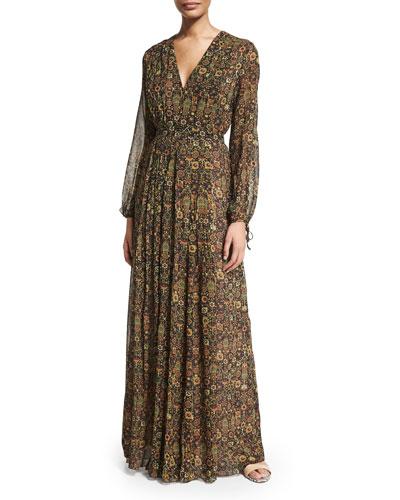Louisiana Tapestry-Print Maxi Dress, Multi Colors