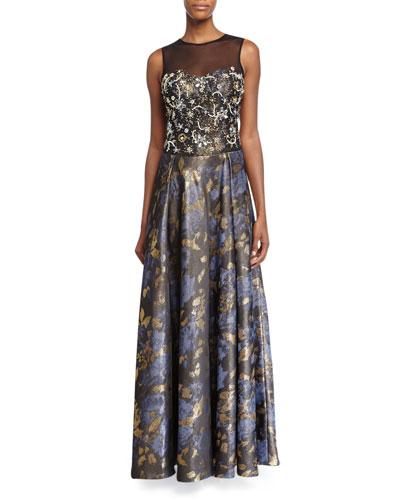 Sleeveless Beaded-Bodice Floral-Skirt Gown