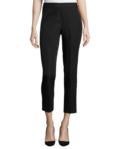 Mid-Rise Textured Cropped Pants, Black