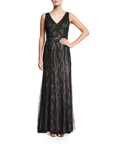 Sleeveless V-Neck Beaded Lace Gown