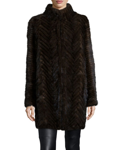 Herringbone-Pattern Mink Fur Coat