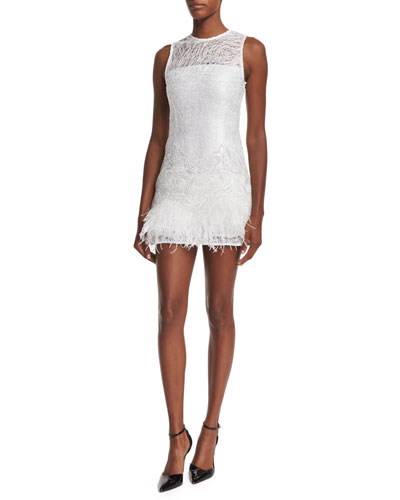 Lizzy Sleeveless Feather-Trim Lace Dress, White