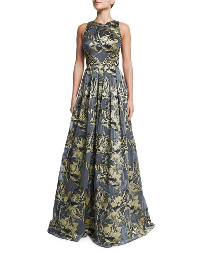 Sleeveless Metallic Floral Ball Gown