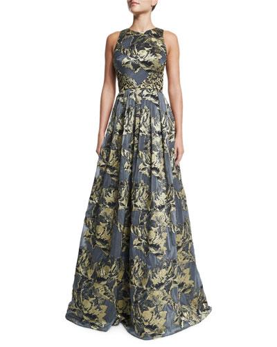Sleeveless Metallic Floral Ball Gown