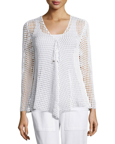 Rhonda Long-Sleeve Crochet Tunic Sweater, White