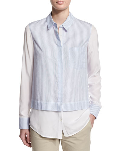 Layered Striped Button-Down Shirt
