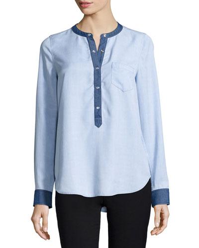 Chambray Colorblock Half-Placket Shirt