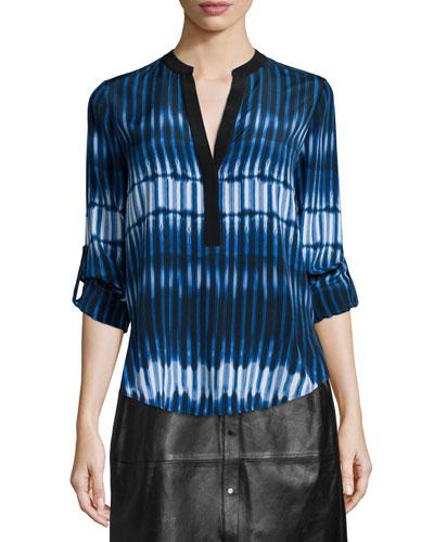 Tie-Dye Striped Popover Blouse
