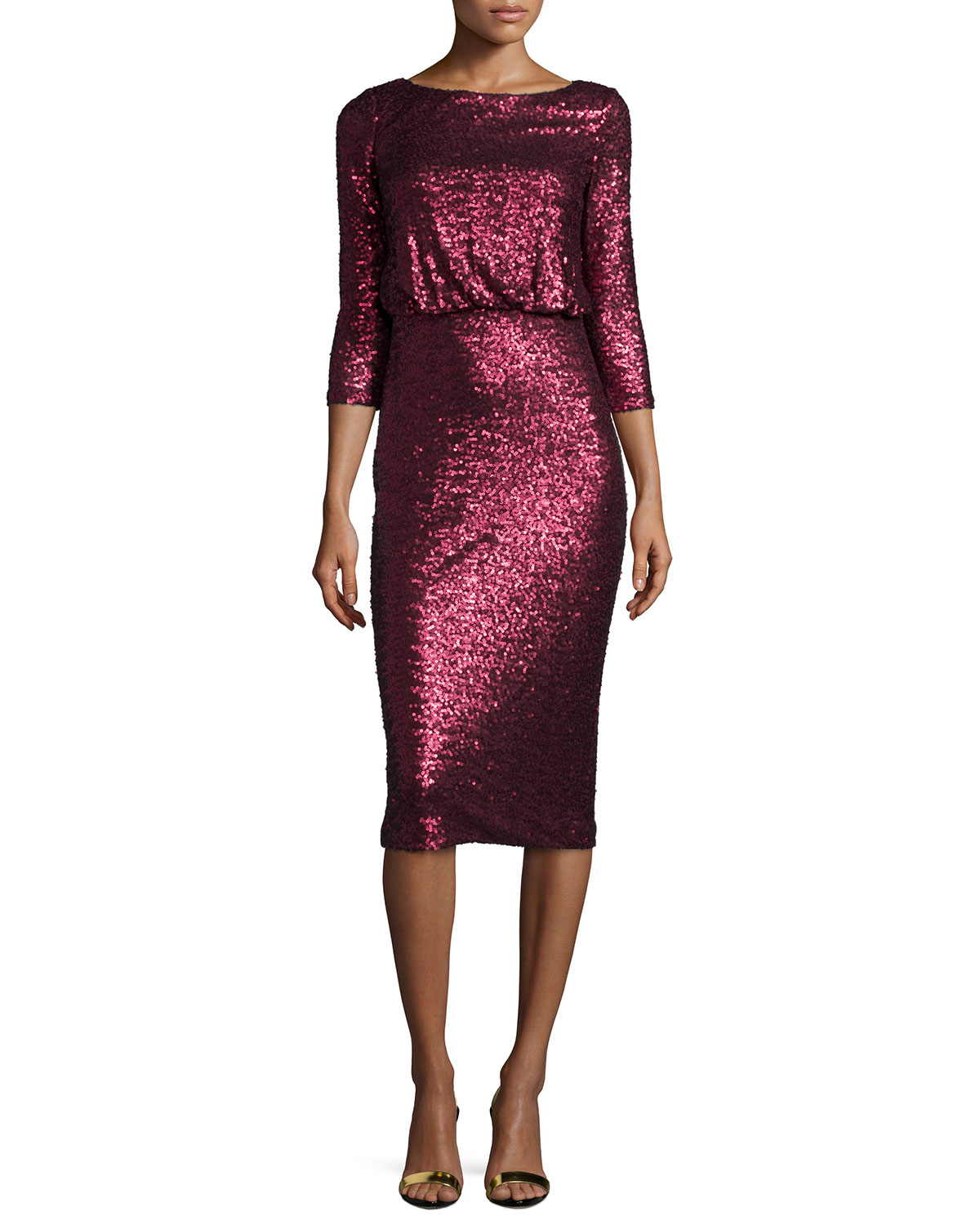 3/4-Sleeve Cowl-Back Sequined Dress