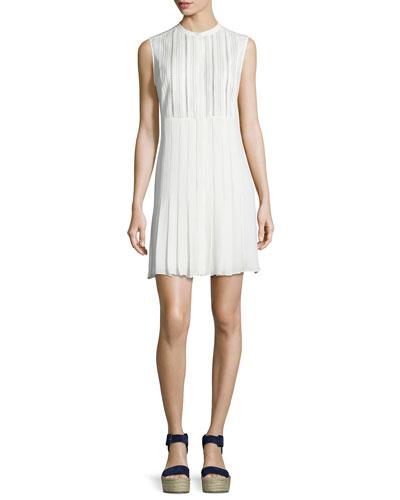 Lace-Bib Pleated Dress