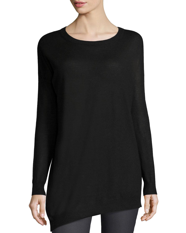 Asymmetric Cashmere Tunic Sweater, Black