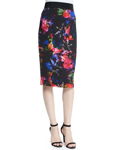 JEWEL FLORAL MIDI SKIRT