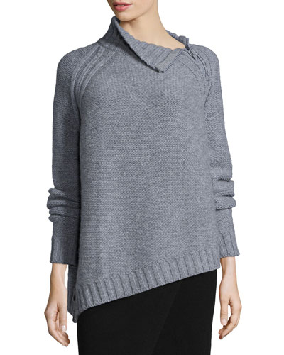 Chunky Wool Sweater W/ Neck Zipper