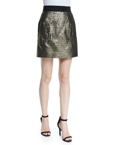 Metallic Jacquard Back-Zip Miniskirt