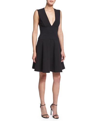 Deep V-Neck Flared-Skirt Dress