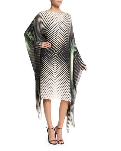 Geometric Chiffon Caftan Dress, Green/Ivory Multicolor