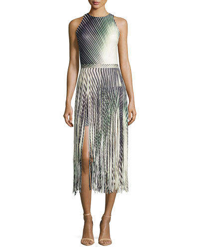 Printed Leather Fringe Dress, Multicolor